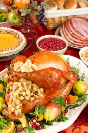 Turkey, stuffing, pie